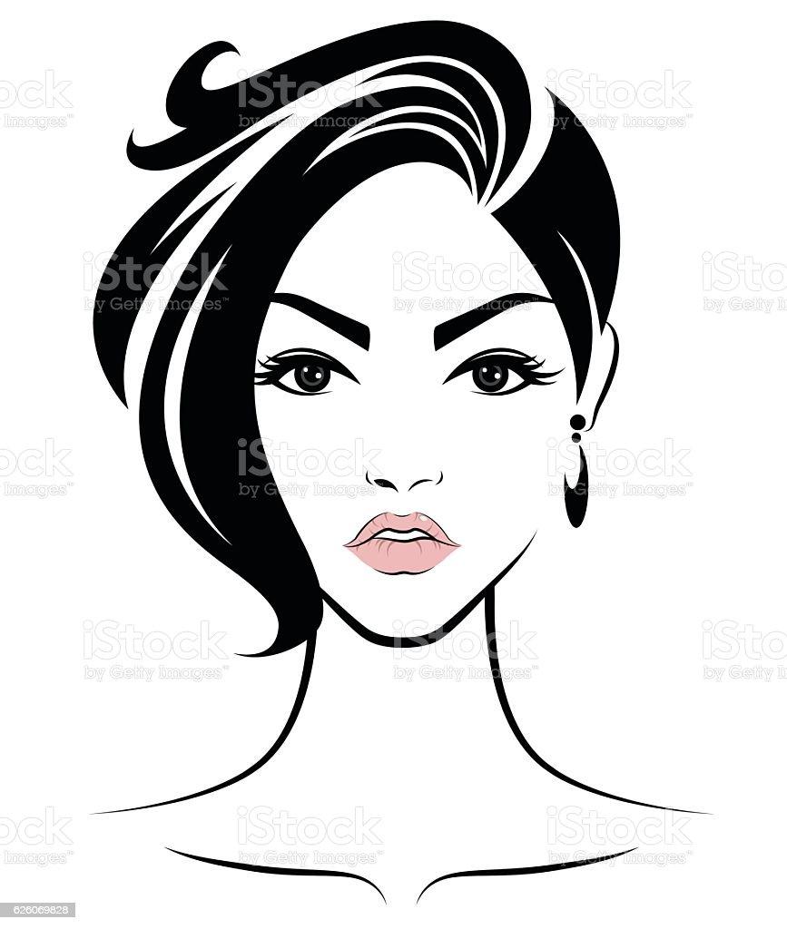Line Drawing Face Vector : Women short hair style icon logo face stock vector