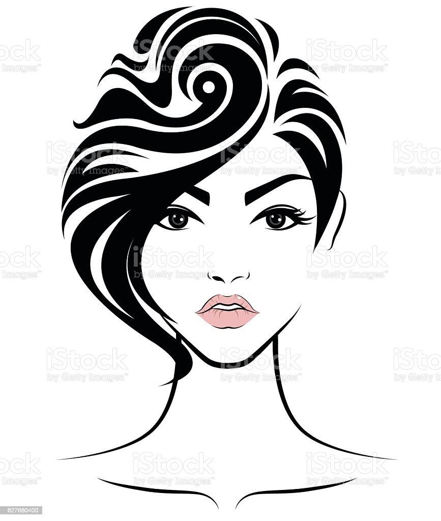 Women Short Hair Style Icon Logo Women Face Stock Illustration