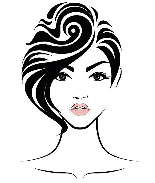 Wedding Hair Style Black Vector Art: Best Black Hair Salon Illustrations, Royalty-Free Vector