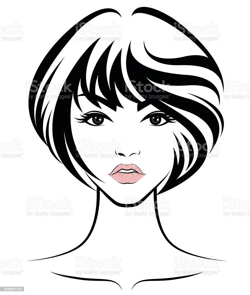 Vector Hairstyles: Women Short Hair Style Icon Logo Women Face Stock