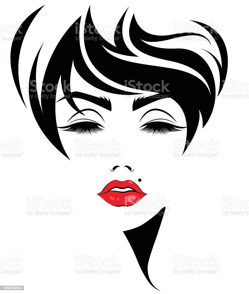 women short hair style icon logo women face stock vector Hair in Mirror Clip Art Clip Art Curly Hair