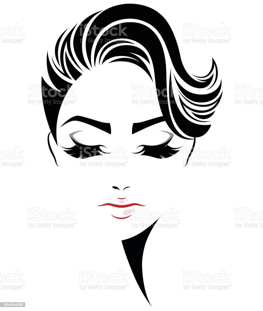 women short hair style icon, logo women face vector art illustration