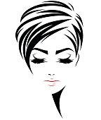 women short hair style icon, logo women face on white background