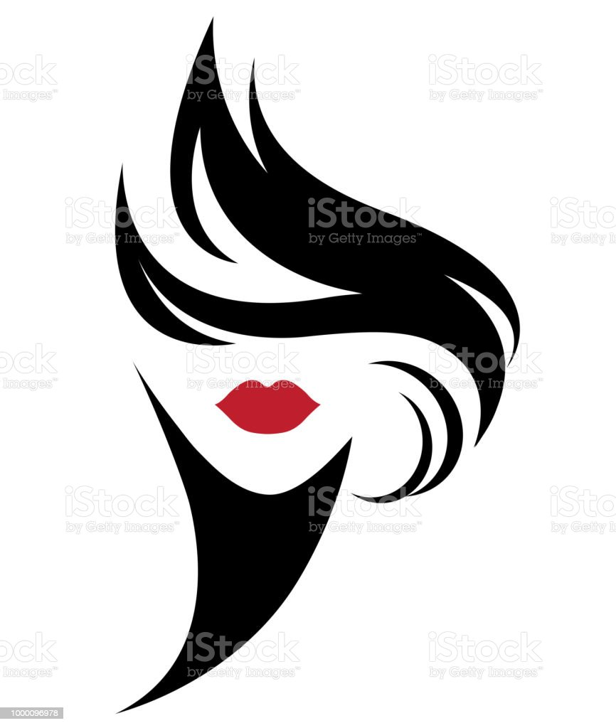 women short hair style icon, logo women on white background vector art illustration