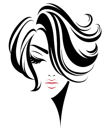women short hair style icon logo women on white background