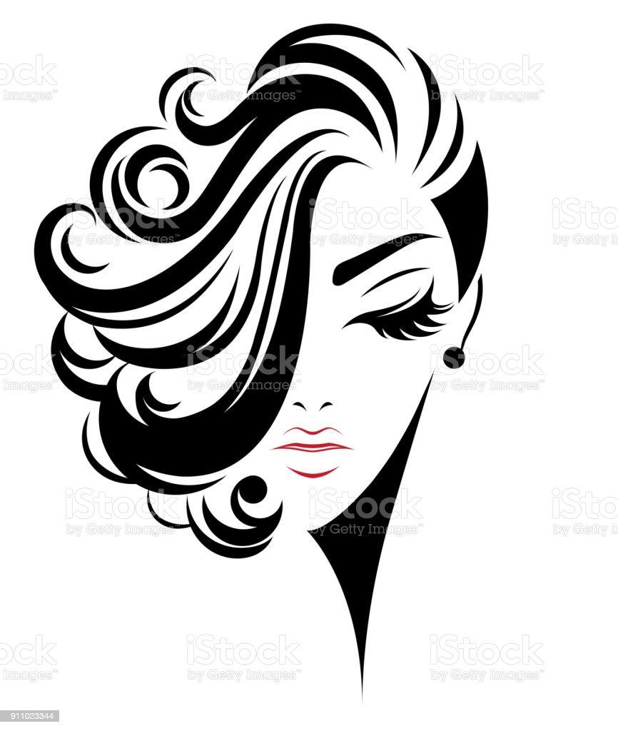 Women Short Hair Style Icon Logo Women On White Background Stock Illustration Download Image Now