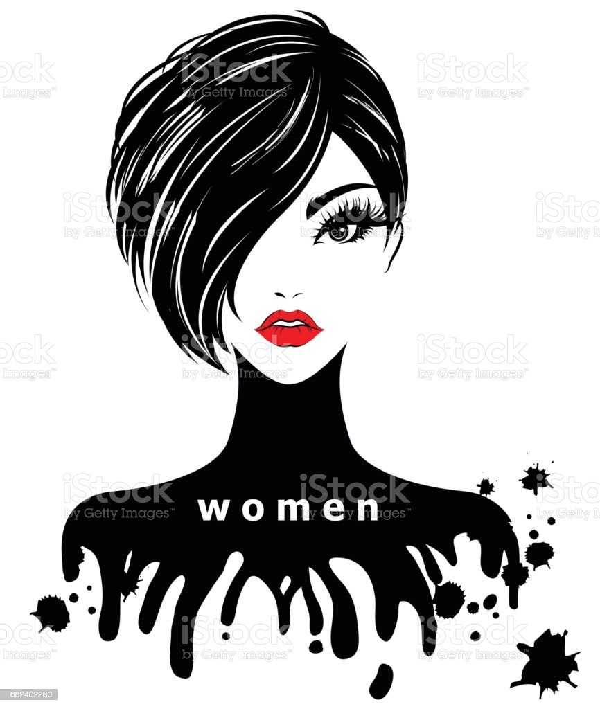 Vetores De Women Short Hair Style Icon Women On White Background E Mais Imagens De Abstrato Istock