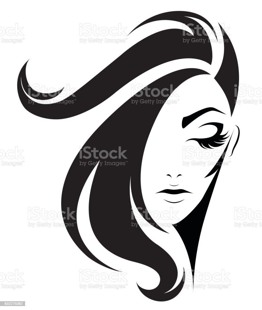 women short hair style icon,  women on white background