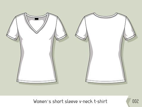 Women short sleeve v-neck t-shirt. Template for design