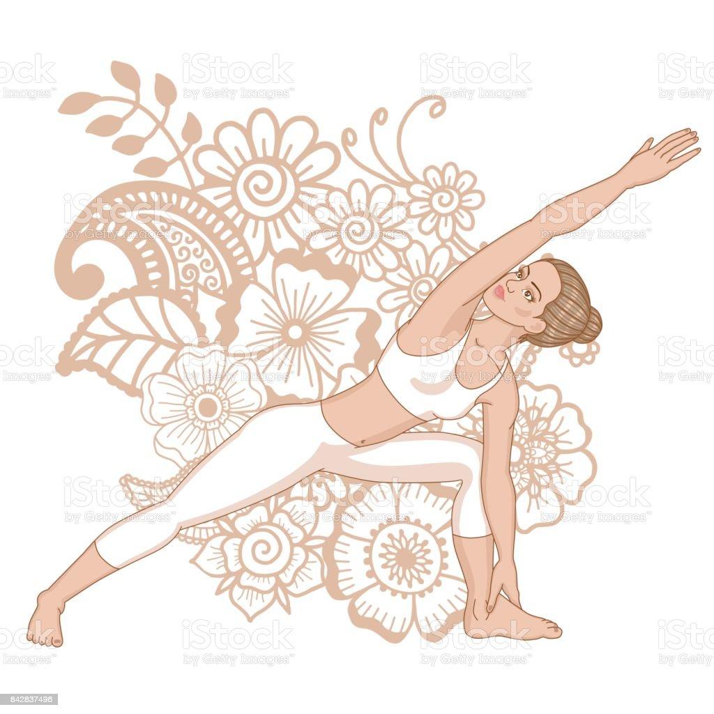 Women Silhouette Extended Side Angle Yoga Pose Utthita