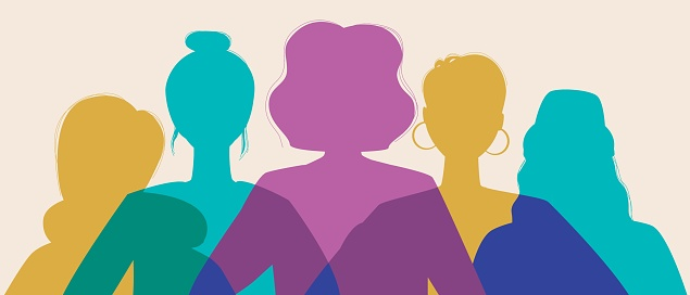 Women silhouette head isolated as concept of equality, feminism, modern vector stock illustration with feminists