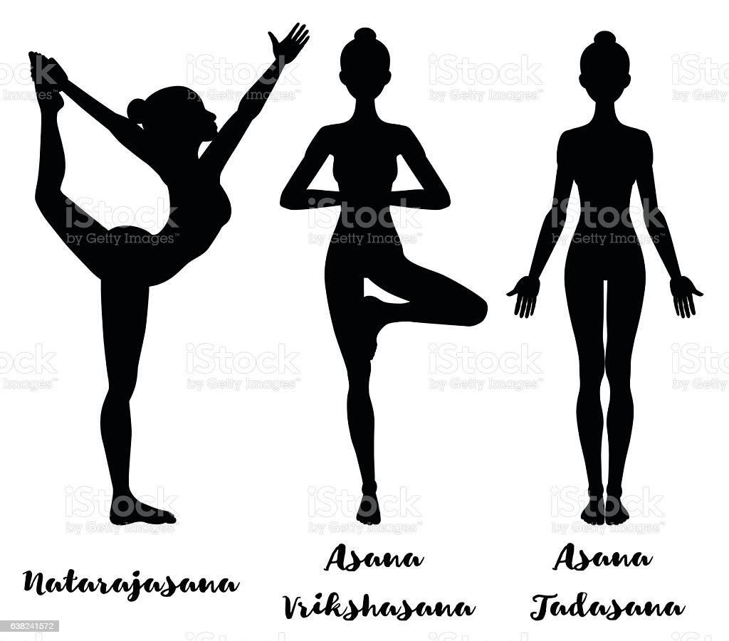 Women silhouette. Lord of the dance yoga pose. Natarajasana. mountain vector art illustration
