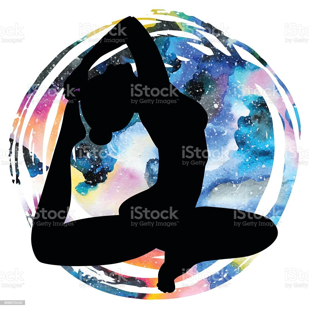 Women silhouette. One-legged king Pigeon yoga pose. Eka pada vector art illustration