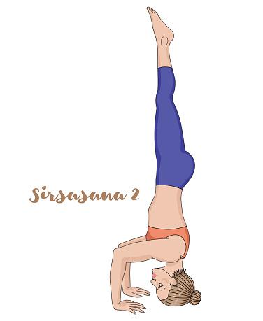 women silhouette tripod headstand yoga pose sirsasana 2