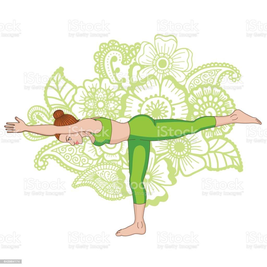 Women Silhouette Warrior 3 Yoga Pose Virabhadrasana Royalty Free