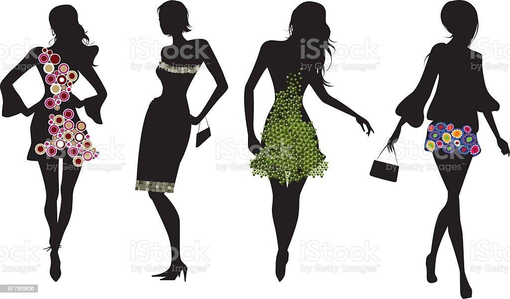 Ilustración de Siluetas De Mujeres Y Textil Patrones y más banco de ...