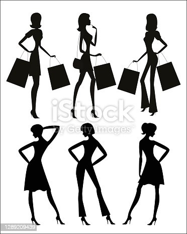 istock Women silhouettes, shopping isolated on background 1289209439