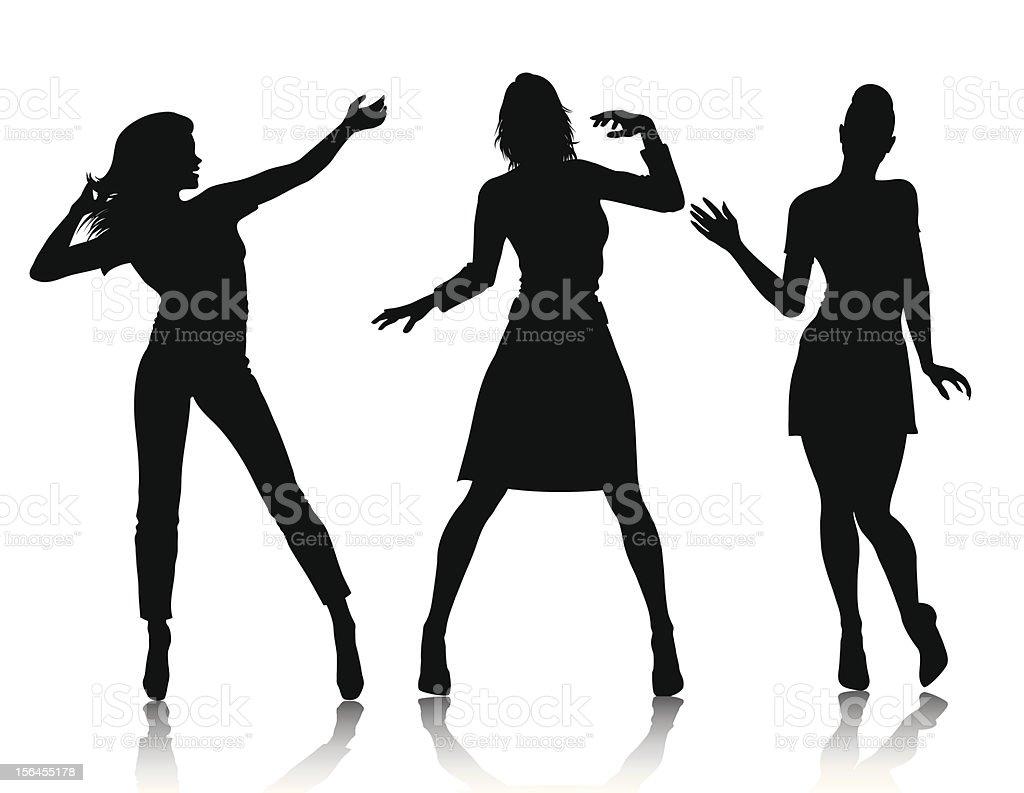 women silhouettes vector art illustration