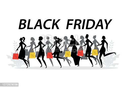 istock Women silhouettes with holding shopping bags discount percent. black Friday concept vector illustrator 1272529258