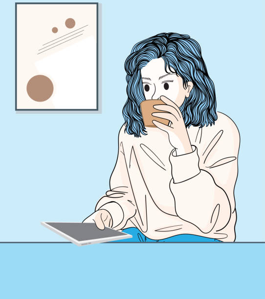 Women sitting and drinking coffee and playing mobile phones at home.Doodle art concept,illustration painting vector art illustration