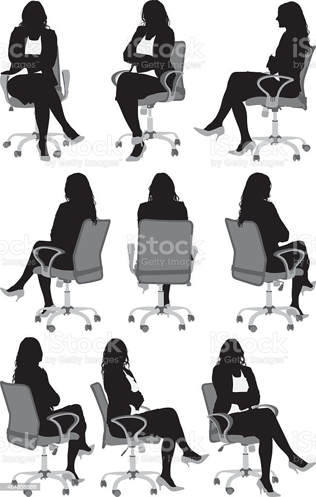 Women sitting on chair vector art illustration