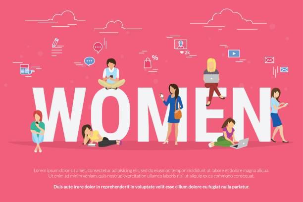 ilustraciones, imágenes clip art, dibujos animados e iconos de stock de mujer sentada con ordenador portátil y teléfono inteligente en letras grandes - ejecutiva