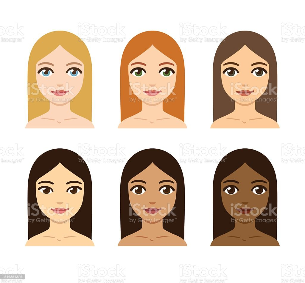 women skin and hair color variety vector art illustration