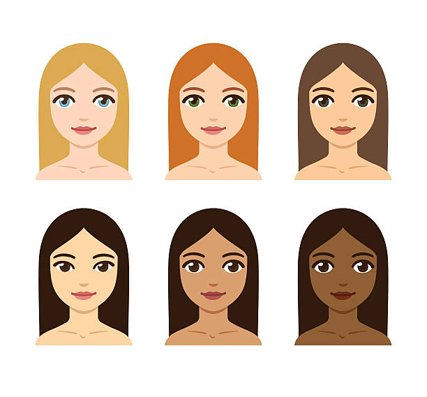 women skin and hair color variety - redhead stock illustrations