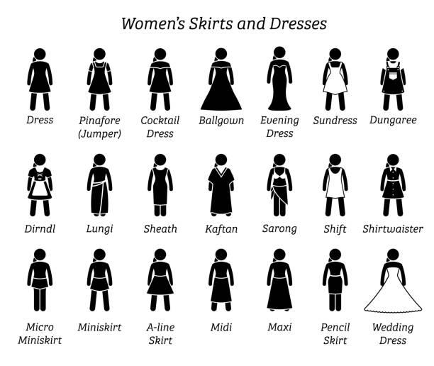 Women skirts and dresses. vector art illustration