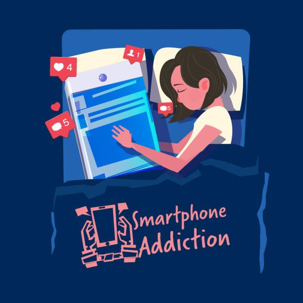 女性は、ベッドで彼女のスマート フォンで眠る。スマート フォンやソーシャル メディア中毒の概念 - ベクトル - スマホ ベッド点のイラスト素材/クリップアート素材/マンガ素材/アイコン素材