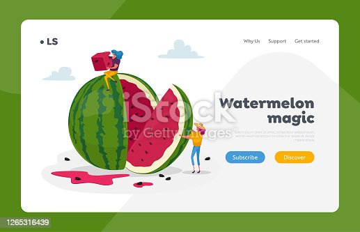 Women Slicing and Eating Melon Landing Page Template. Tiny Female Characters Enjoying Refreshing of Huge Ripe Watermelon