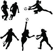 Women Soccer Goalie Silhouettes
