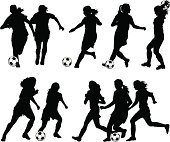 Vector illustration of women soccer player silhouettes.