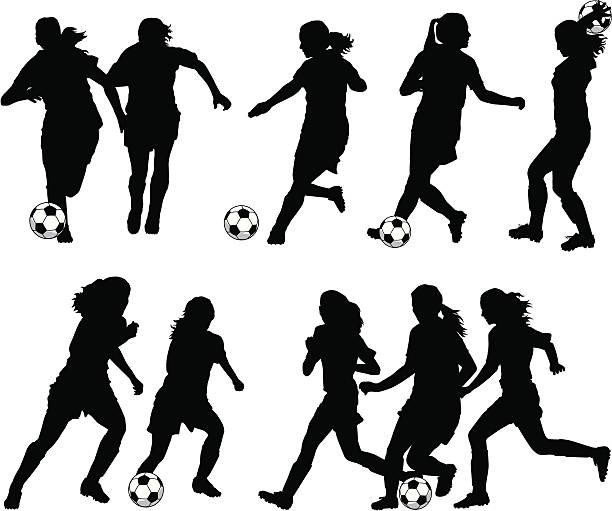 frauen-fußball-spieler silhouetten - weiblicher teenager stock-grafiken, -clipart, -cartoons und -symbole