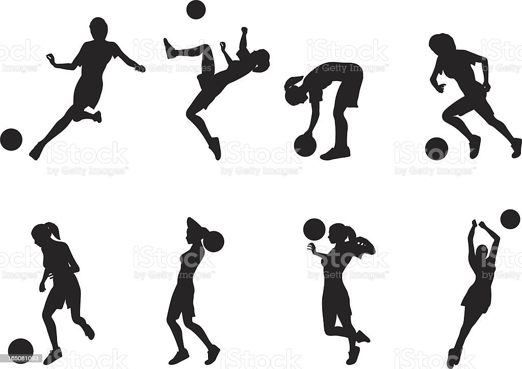 Women Soccer Silhouettes royalty-free stock vector art