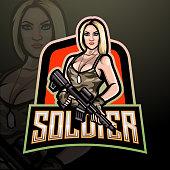 Women soldier esport logo. mascot design