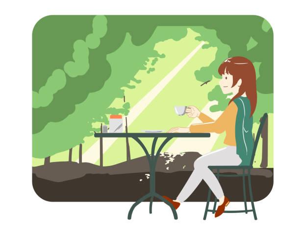 illustrazioni stock, clip art, cartoni animati e icone di tendenza di women spending time in a cafe trousers forest (no line) - forest bathing