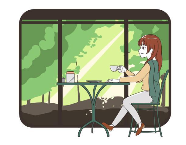 illustrazioni stock, clip art, cartoni animati e icone di tendenza di women spending time in a cafe trousers with forest window frame - forest bathing