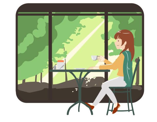 illustrazioni stock, clip art, cartoni animati e icone di tendenza di women spending time in a cafe trousers with forest window frame (no line) - forest bathing