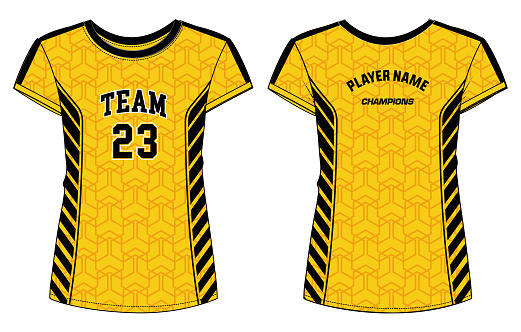 Women Sports Jersey t-shirt design concept Illustration suitable for girls and Ladies for Volleyball jersey, Football, badminton, Soccer, netball and tennis, Sport uniform kit for sports