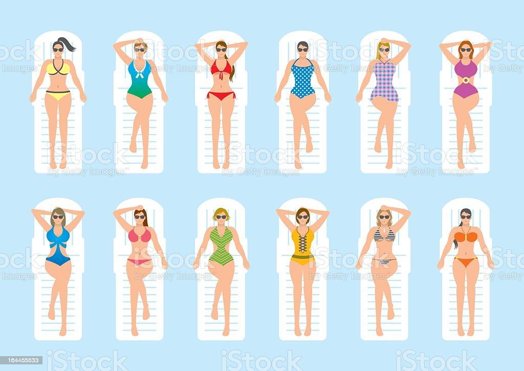 Women sunbathing on deckchairs vector art illustration