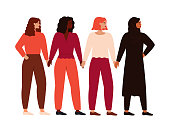 Women support each other. Four confident and strong girls holding hands and standing together. Feminism concept, girl power. Vector illustration in flat cartoon style.