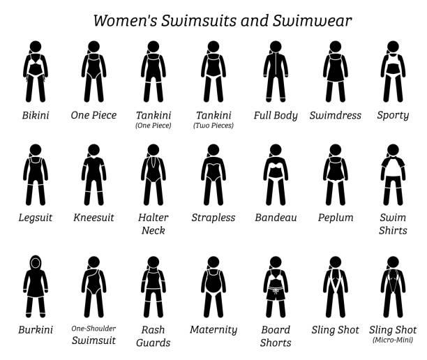ilustrações de stock, clip art, desenhos animados e ícones de women swimsuits and swimwear. - swim arms