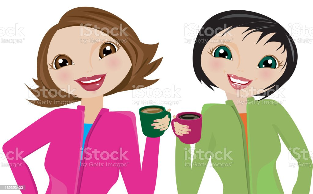 Women taking a Coffee Break and Smiling royalty-free stock vector art