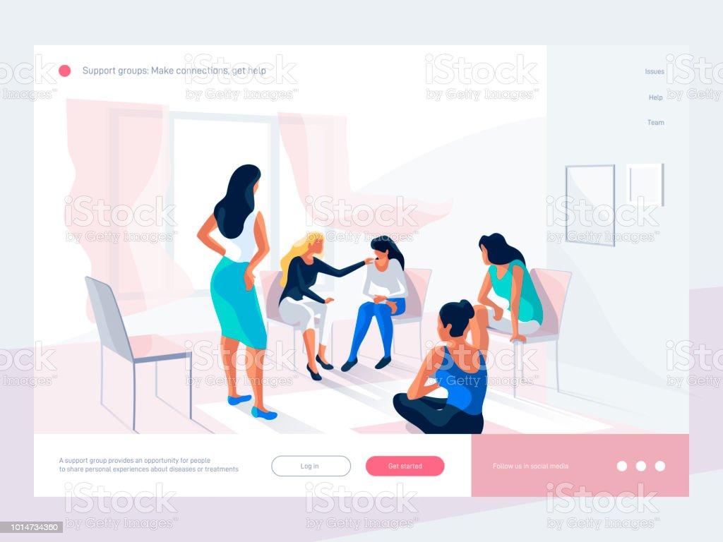 Ilustración de Las Mujeres Hablaran Y Compartan Experiencia Personal ...