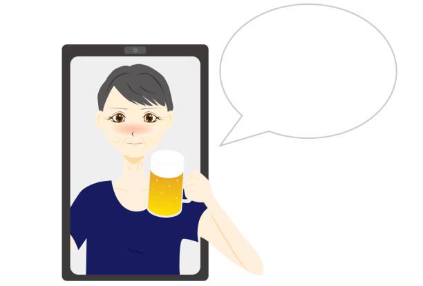 illustrazioni stock, clip art, cartoni animati e icone di tendenza di women talking online. vector illustration. - woman chat video mobile phone