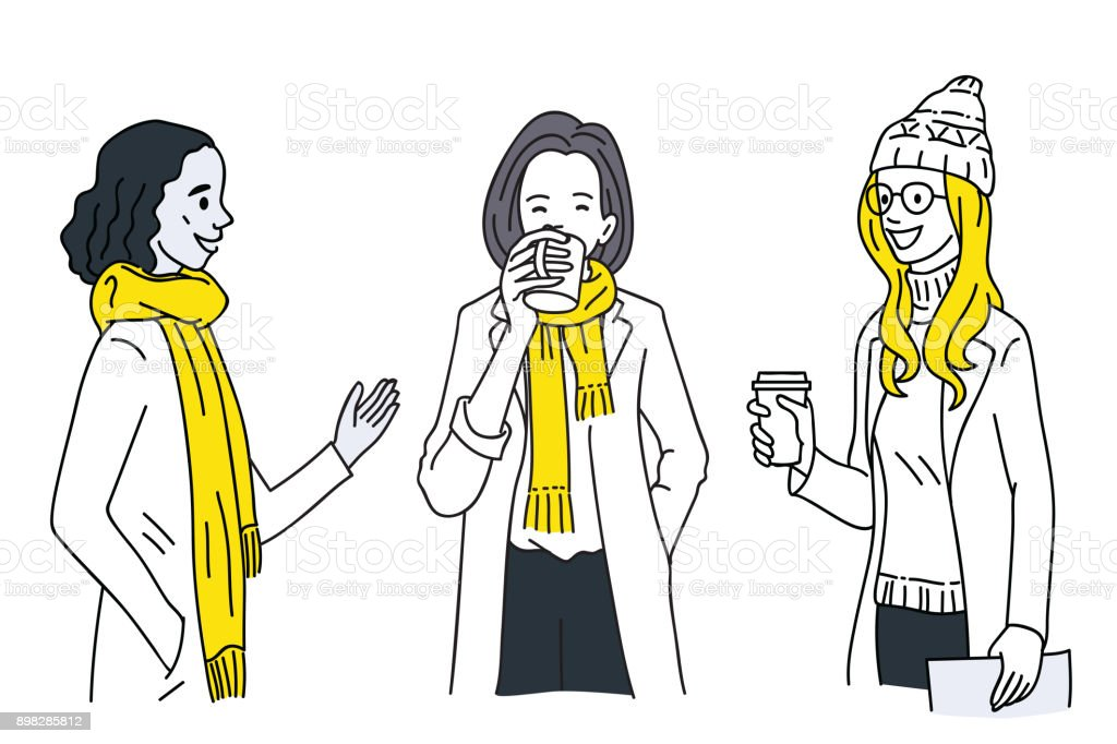 Women talking together in winter vector art illustration