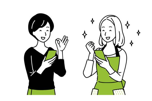 スマホを抱えながら話す女性たち。 - 笑顔 女性点のイラスト素材/クリップアート素材/マンガ素材/アイコン素材