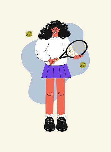 Women Tennis Player, Cartoon Style Vector Illustration