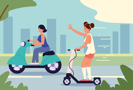 women using motorbike scooter